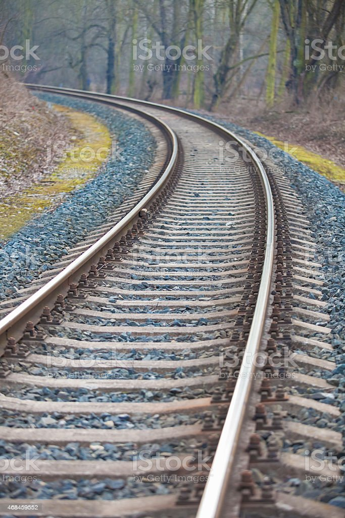 Railway track leading into the unknown stock photo