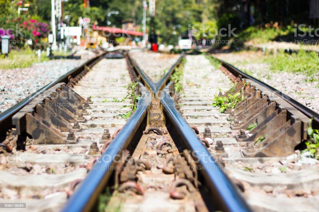 railway track, line crossing railway track on the stone stock photo