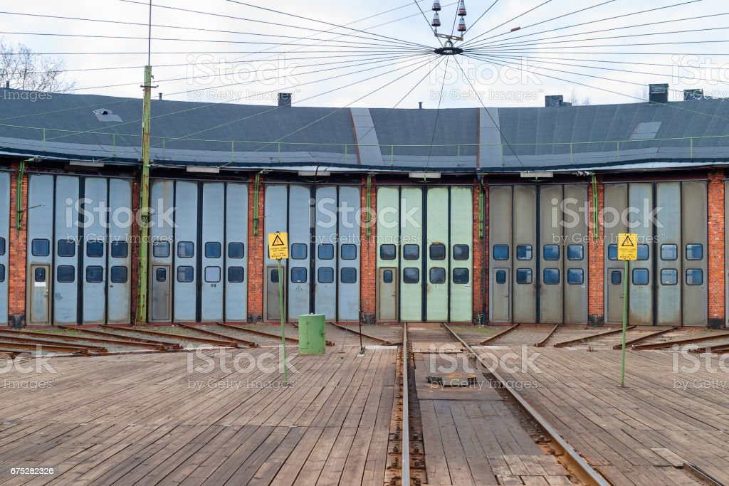 Railway track on a turntable at a roundhouse stock photo