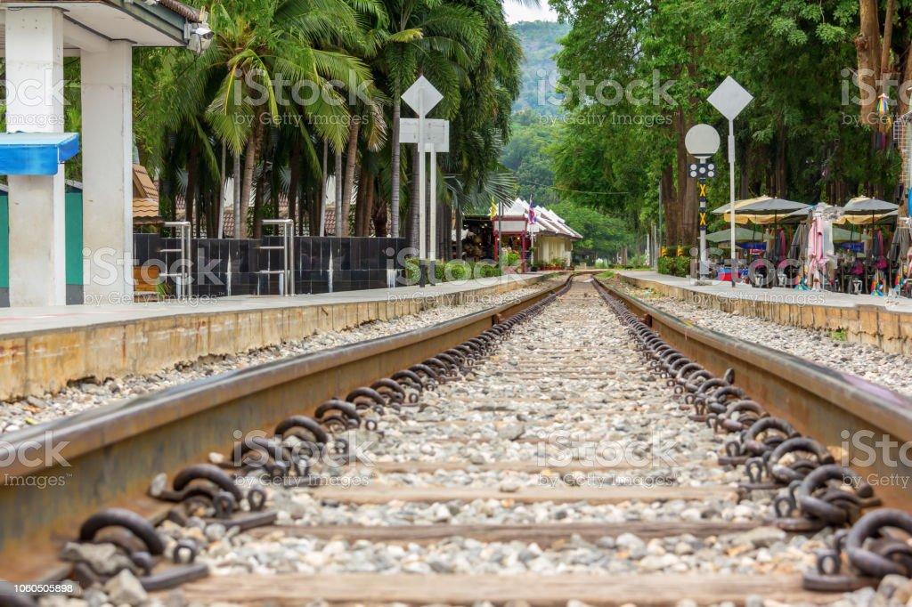 railway track on ground stock photo