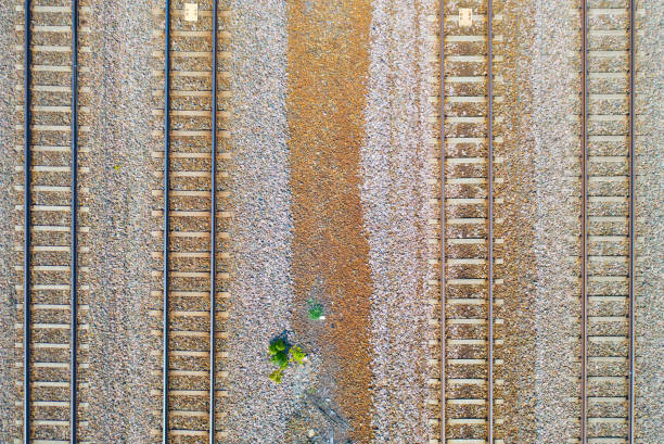 Railway track seen from above - foto stock