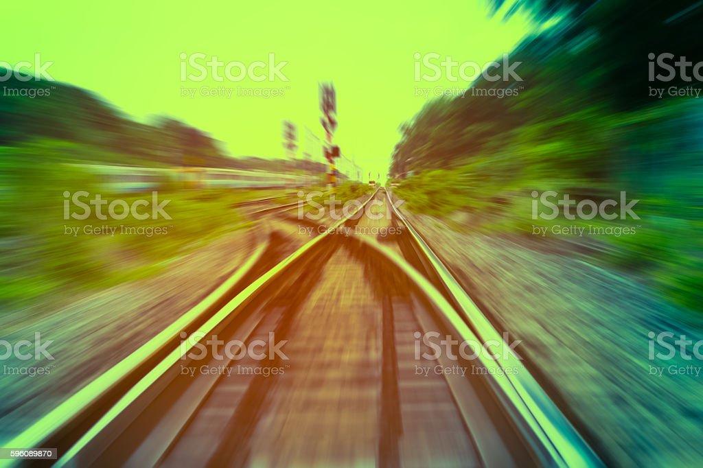 railway track, train fast run on railway track royalty-free stock photo