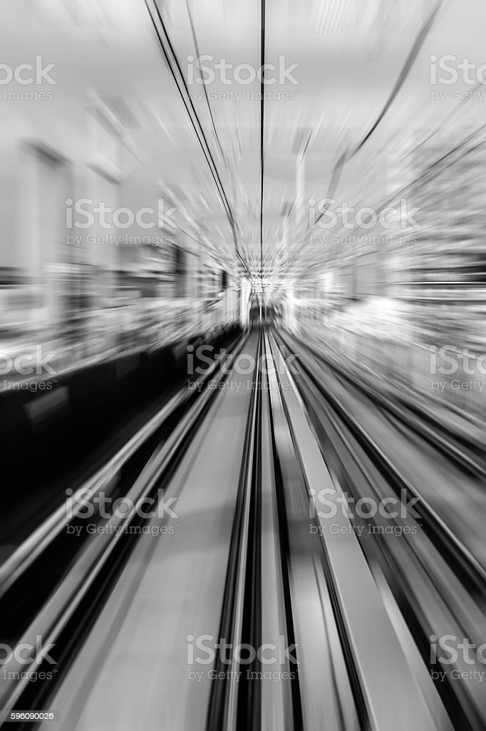 railway track, train fast run on railway track Lizenzfreies stock-foto