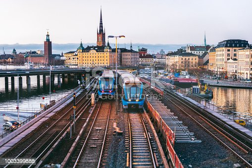 Railway tracks and trains in Stockholm, Sweden