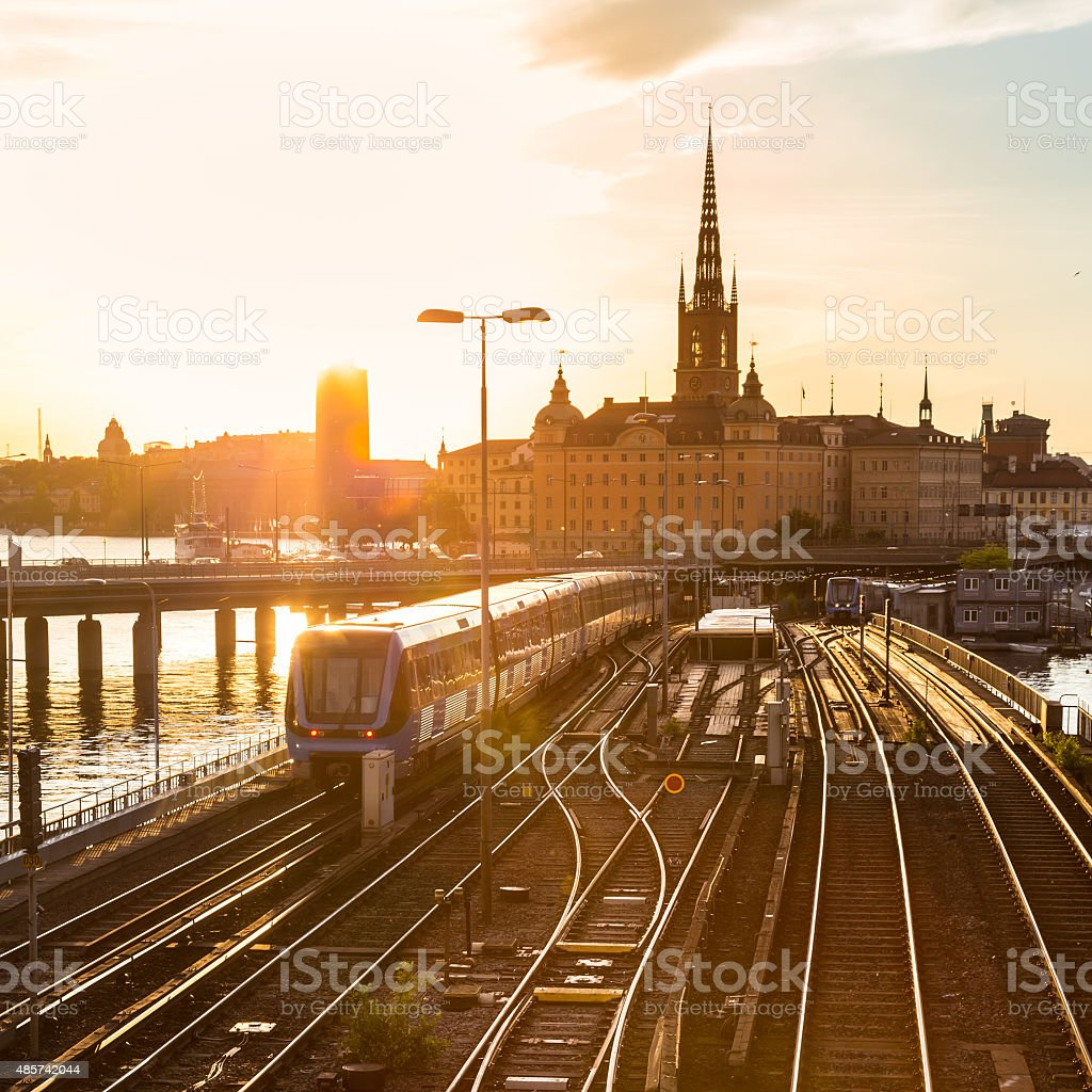 Railway tracks and trains in Stockholm, Sweden. stock photo