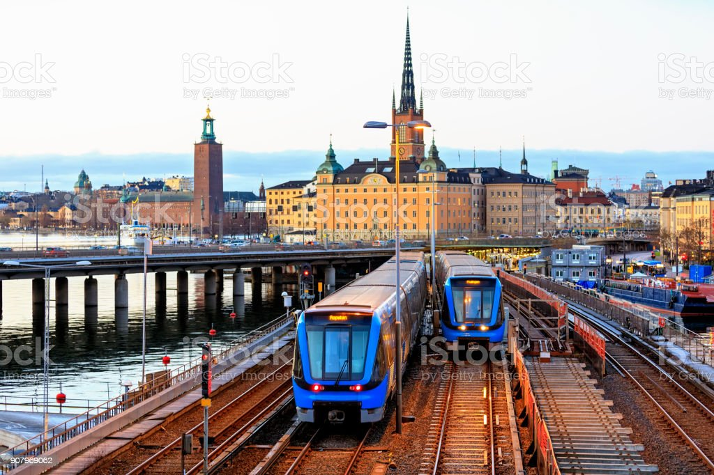 Railway tracks and trains in Stockholm, Sweden stock photo