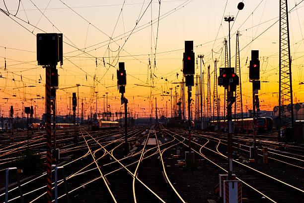Railway Tracks at Sunset stock photo