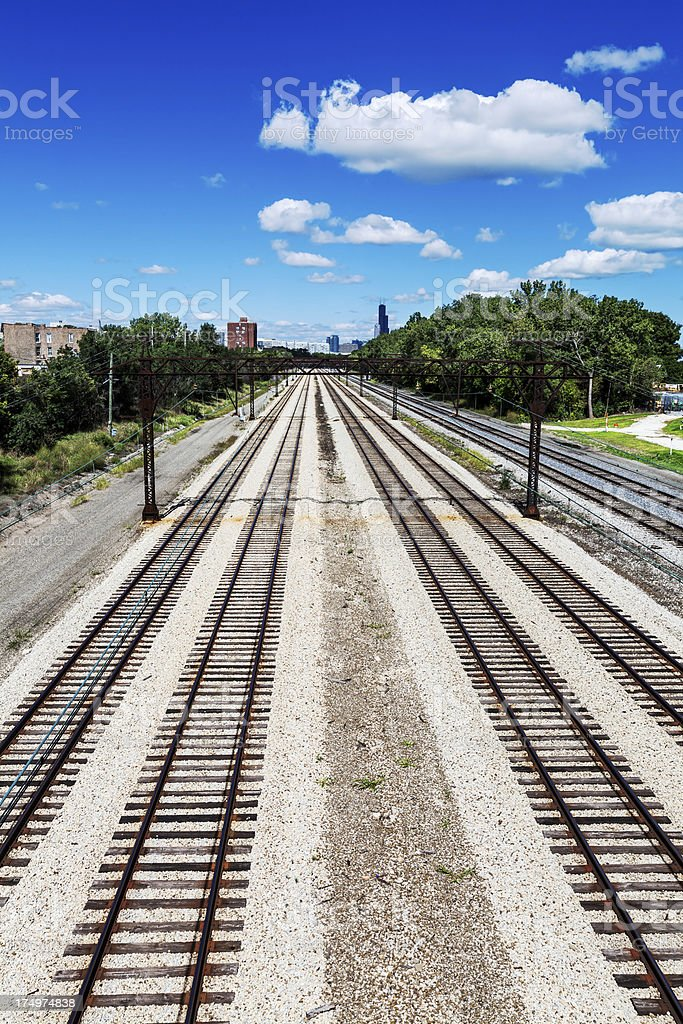 Railway tracks going to Chicago royalty-free stock photo