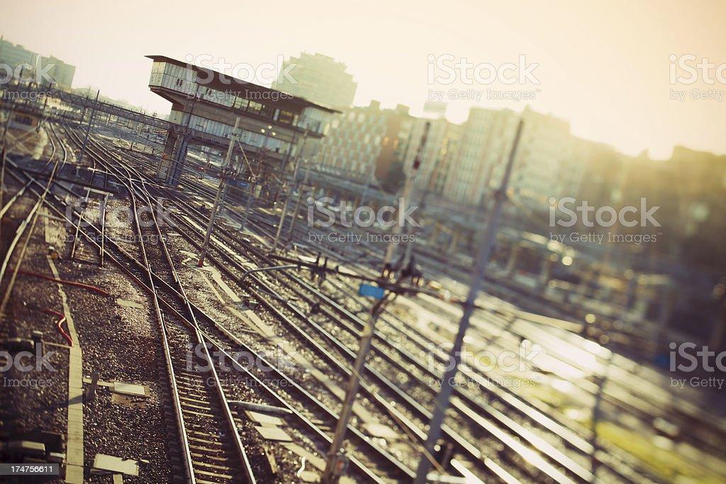 Railway Tracks in Train Station royalty-free stock photo