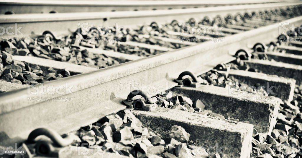 A railway tracks isolated unique photo stock photo