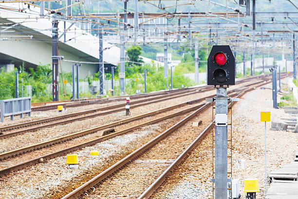 railway tracks - railway signal stock photos and pictures
