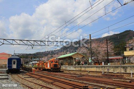 istock railway tracks with railroad  at Shimoyoshida 842191168