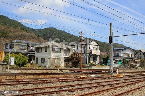 istock railway tracks with railroad  at Shimoyoshida 842191184