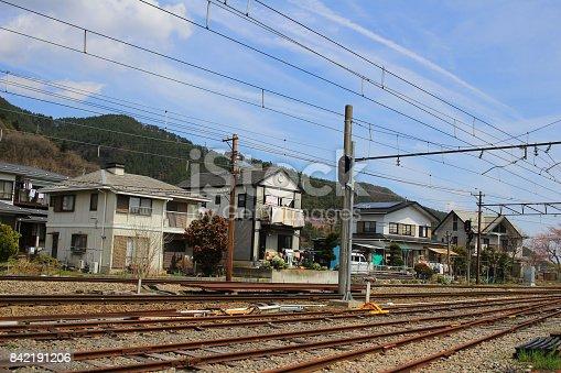 istock railway tracks with railroad  at Shimoyoshida 842191206