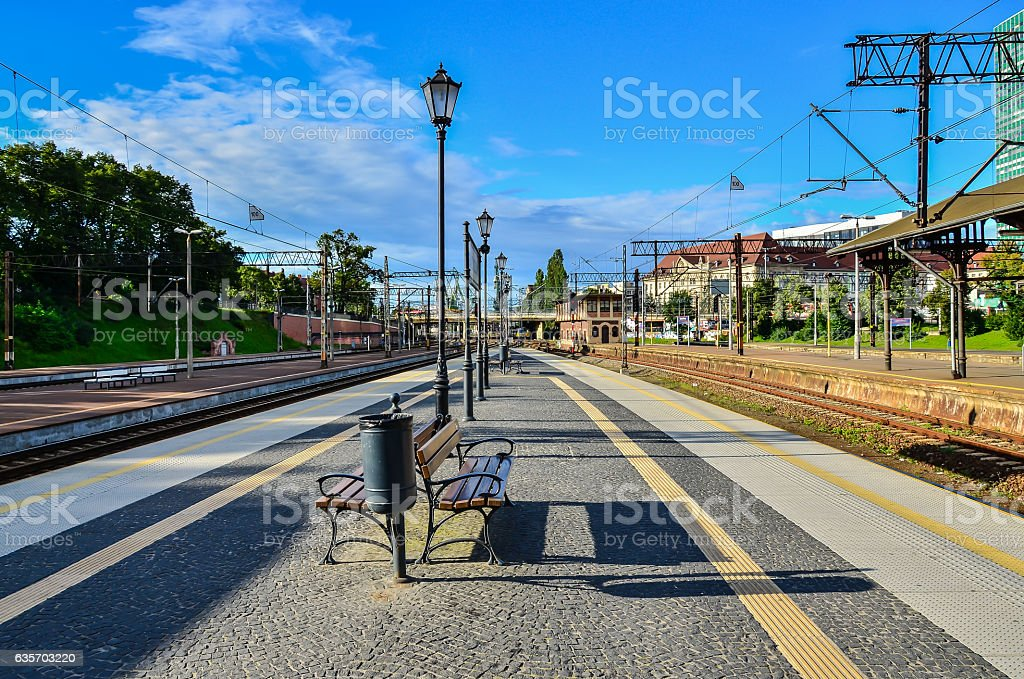 Railway train platform royalty-free stock photo