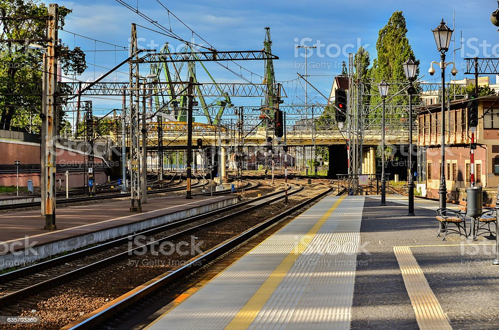 Railway train platform royalty-free stock photo