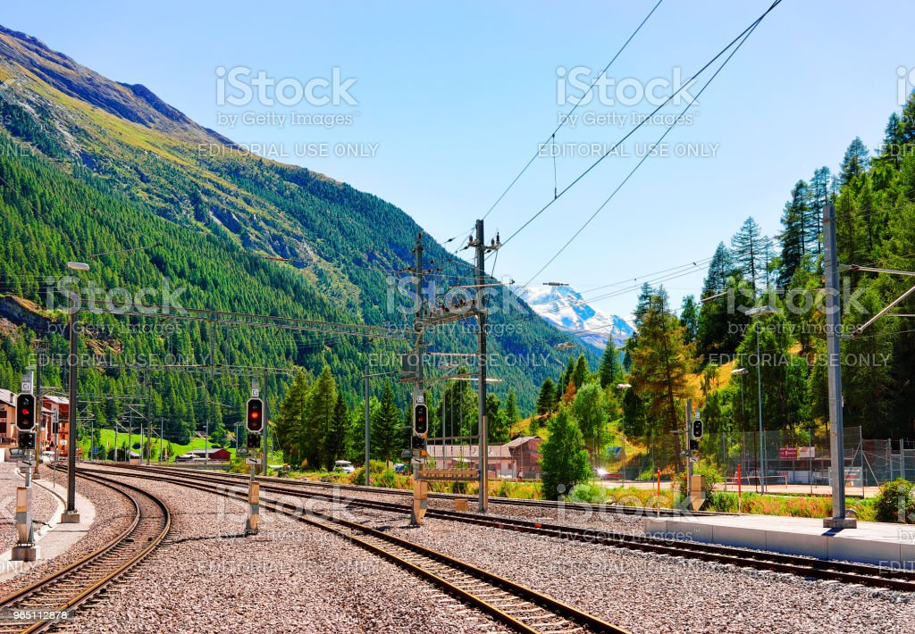 Railway train station and landscape Zermatt Valais Switzerland CH royalty-free stock photo