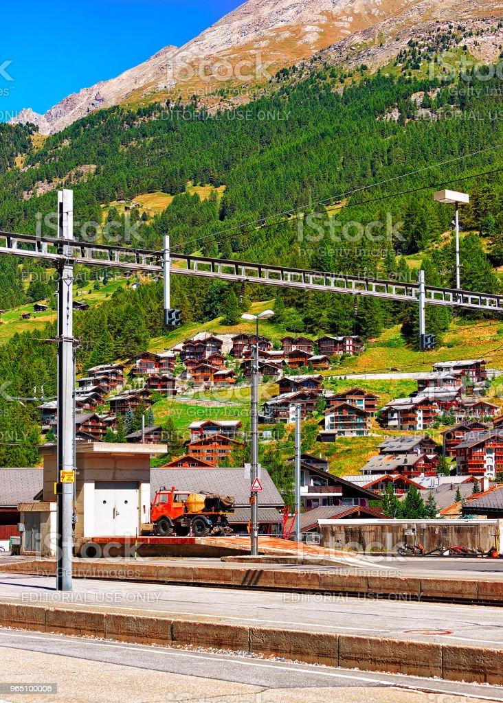 Railway train station in Zermatt CH zbiór zdjęć royalty-free