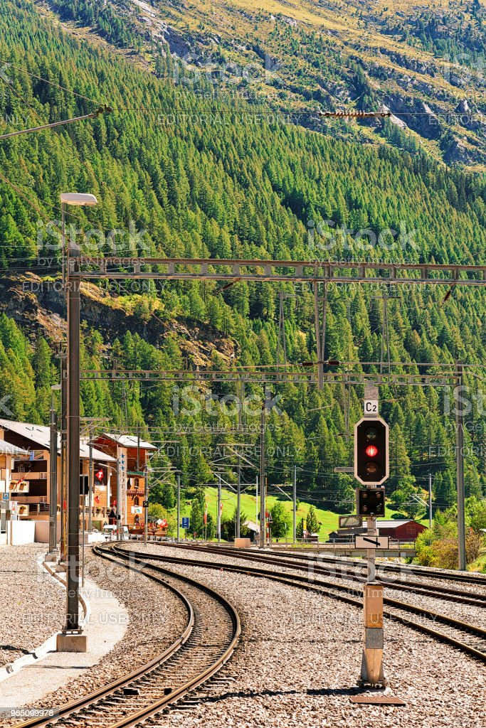 Railway train station landscape in Zermatt Valais Switzerland in CH royalty-free stock photo
