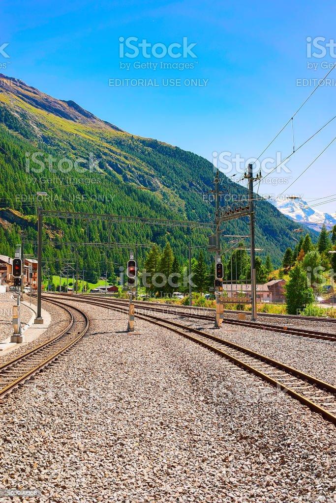 Railway train station landscape Zermatt Valais Swiss in CH zbiór zdjęć royalty-free