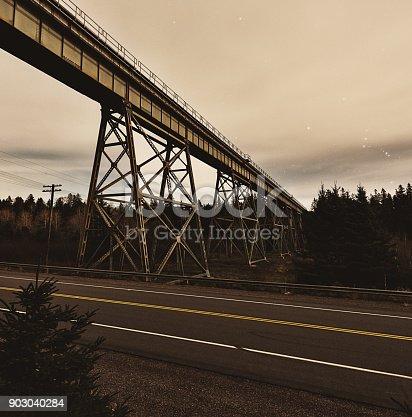 Tall railway bridge at night.  Long exposure.