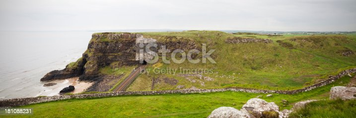 Panoramic view looking across the headland cliff at Castlerock on the north coast of Northern Ireland. Showing is the railway tracks and the tunnel going the the cliffside. This is two images stitched together to create one larger panoramic image. Taken with Canon 5D Mark2.