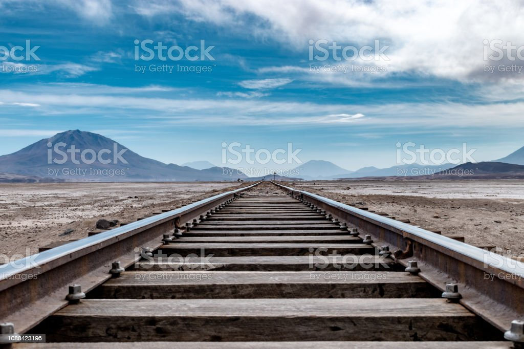 Railway vanishing point. The railway runs through the Bolivian salt...