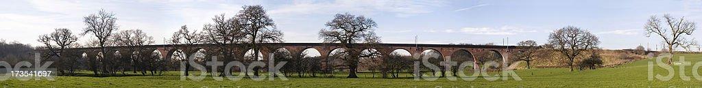 Railway viaduct panorama stock photo