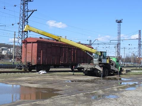 railway wagon and crane