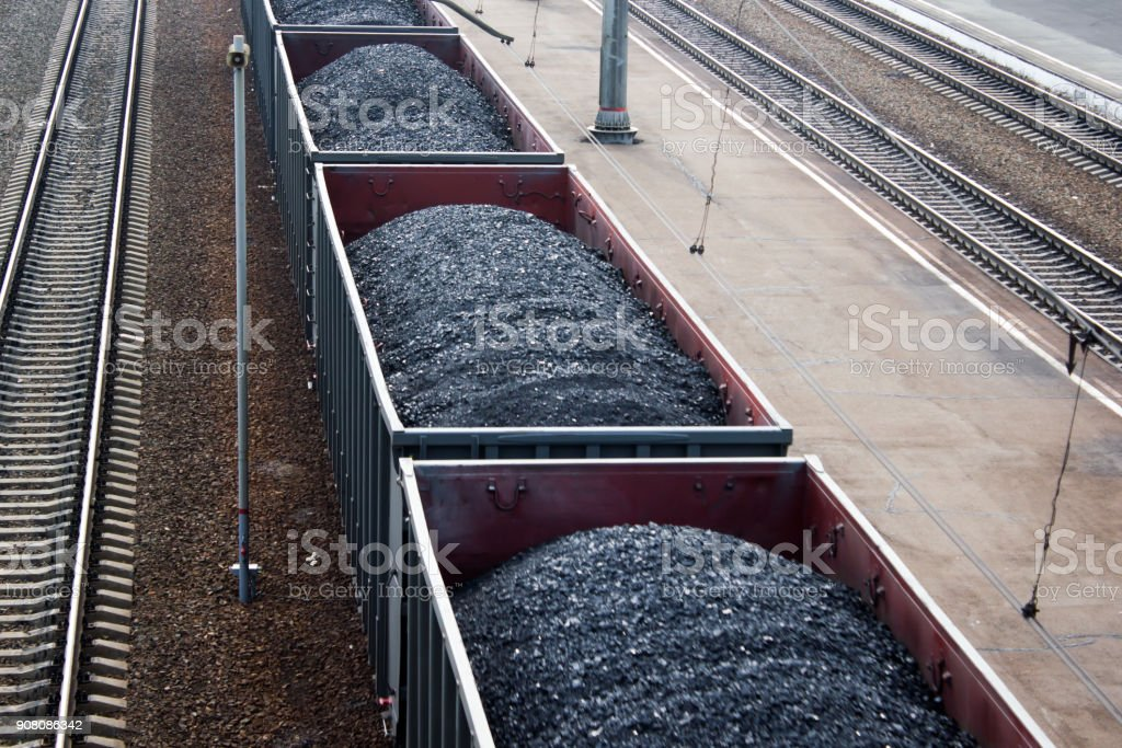 Railway wagons loaded with coal stock photo
