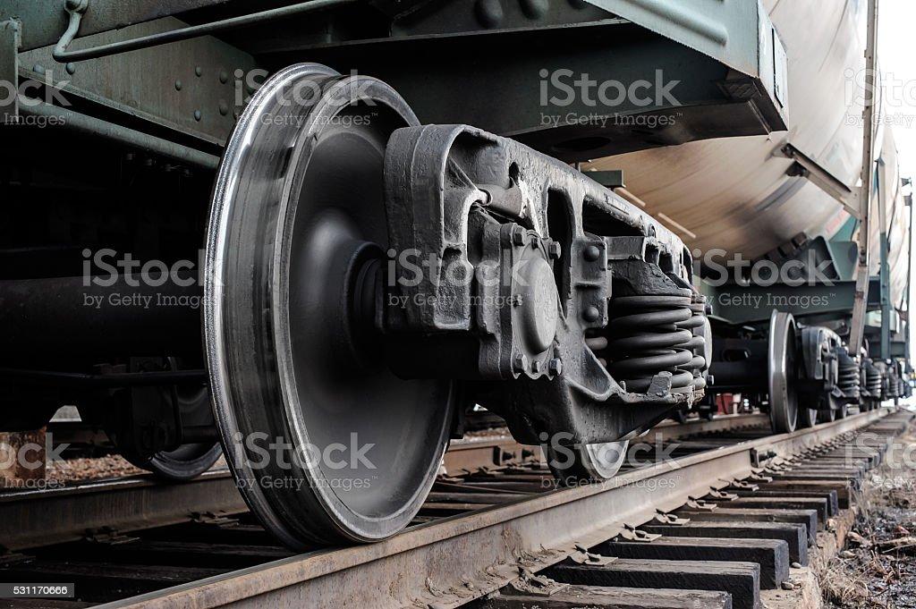 Railway wheels stock photo