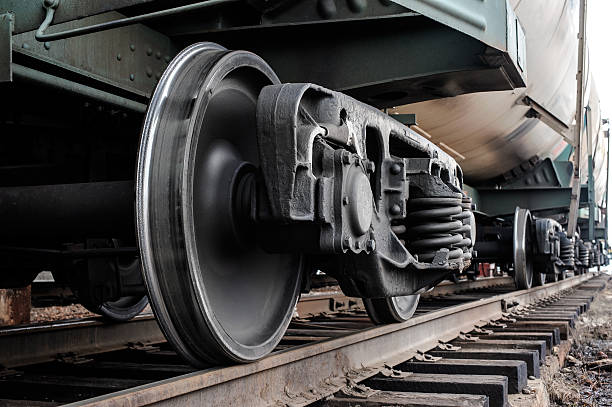 Railway wheels A closeup view of the wheels of a train wheel stock pictures, royalty-free photos & images