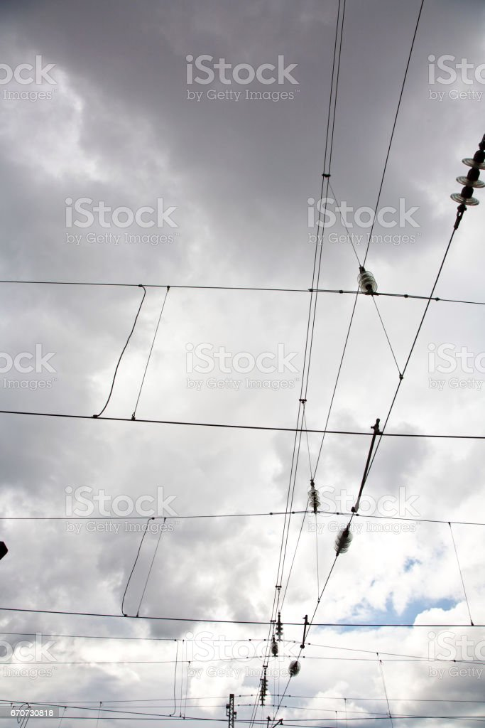 Railway Wire Of The High Tension Line Stock Photo & More Pictures of