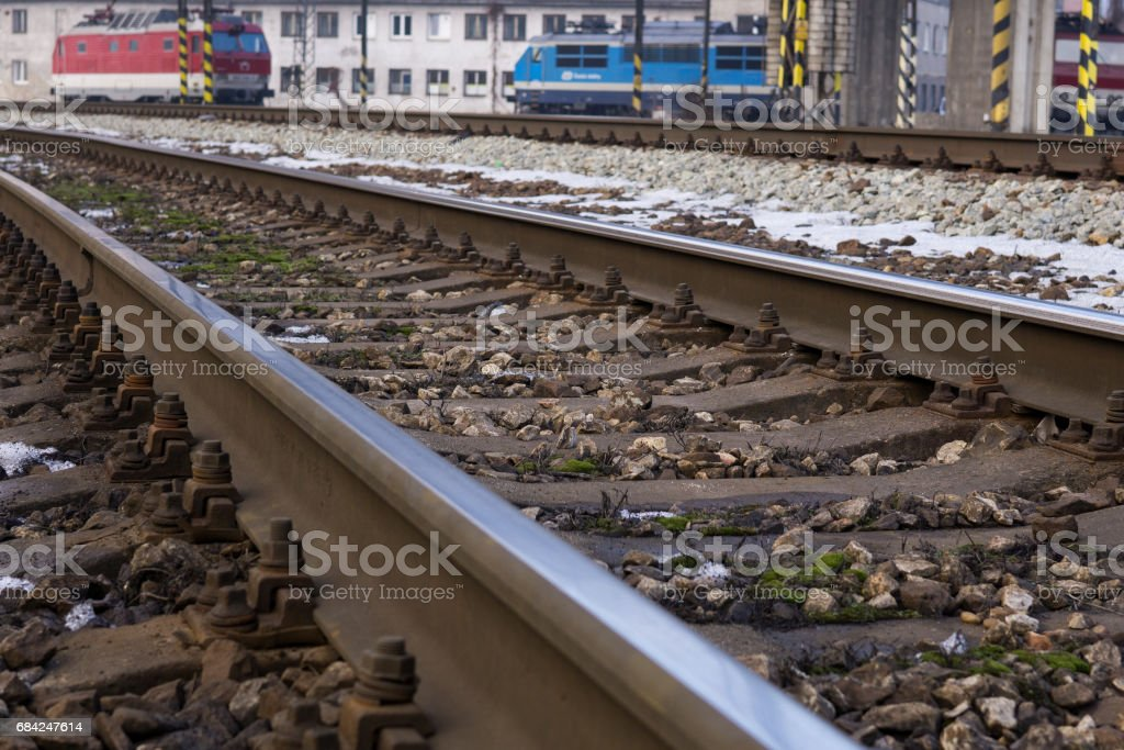 Railways covered by snow in winter. royalty-free stock photo