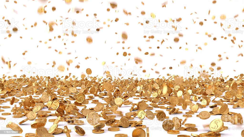 Rain a large amount of gold coins stock photo