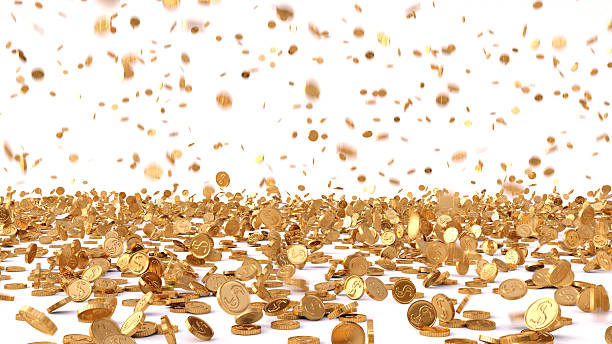 rain a large amount of gold coins - coin stock photos and pictures