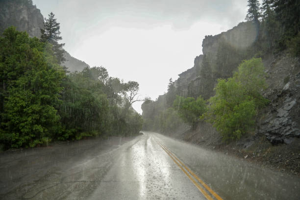 Rain and Hail on mountain road
