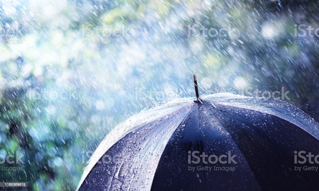 Rain And Wind On Black Umbrella - Weather Concept Rain And Wind On Black Umbrella - Weather Concept Accidents and Disasters Stock Photo