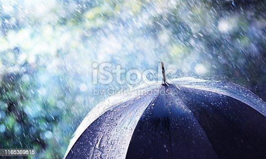 Rain And Wind On Black Umbrella - Weather Concept