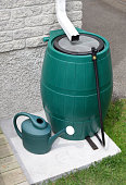 Rain barrel used for water conservation. Related Images: