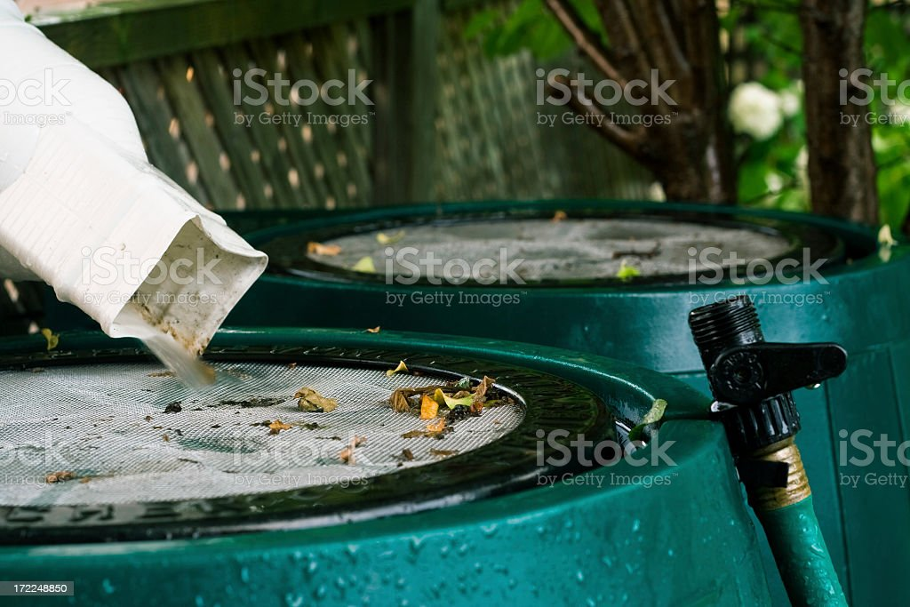 Rain Barrels In Use royalty-free stock photo
