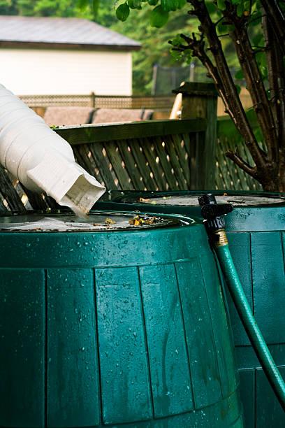 Rain Barrels In Use stock photo