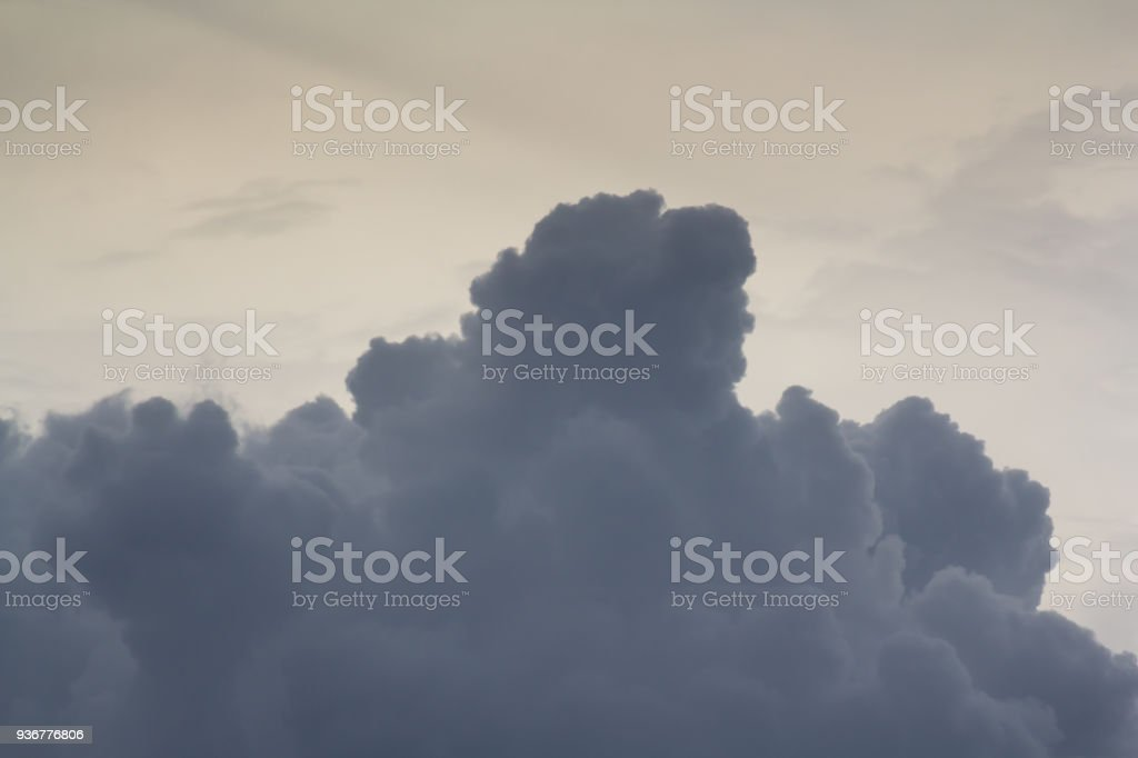 rain cloud, black cloud on evening sky stock photo