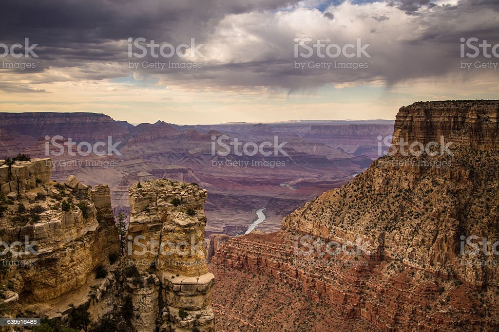 Rain Clouds Crossing Grand Canyon stock photo