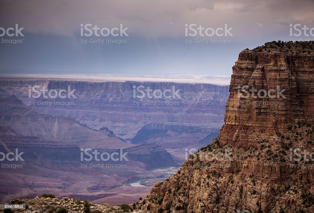 Rain Clouds High Above Grand Canyon stock photo