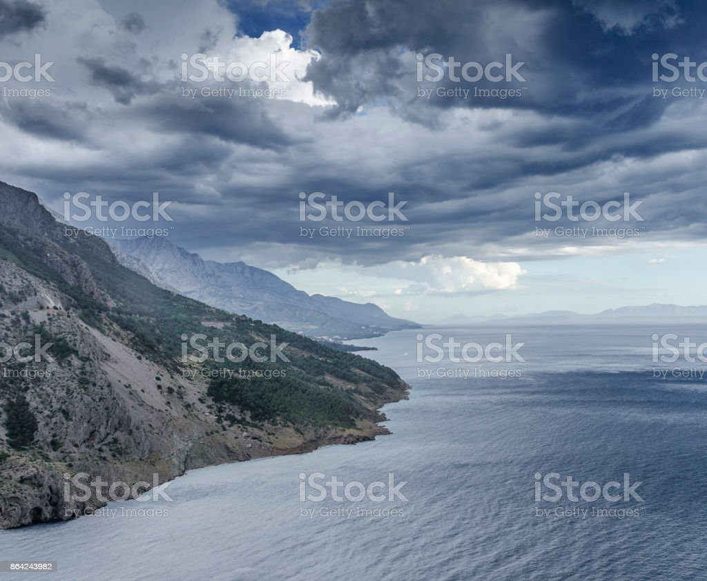 Rain clouds over the sea. royalty-free stock photo