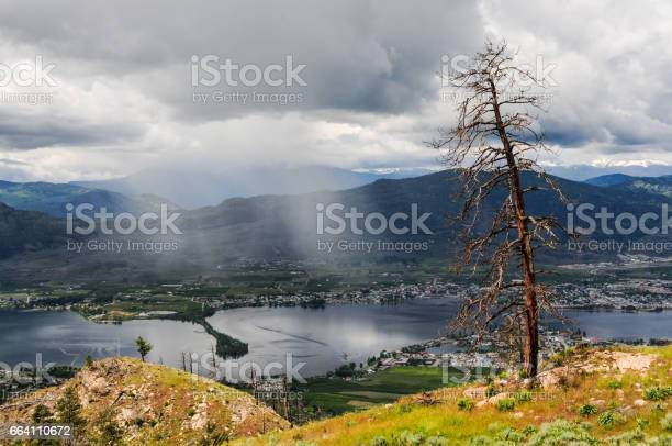 Photo of Rain clouds rolling over the town and lake Osoyoos, Southern British Columbia, Canada.