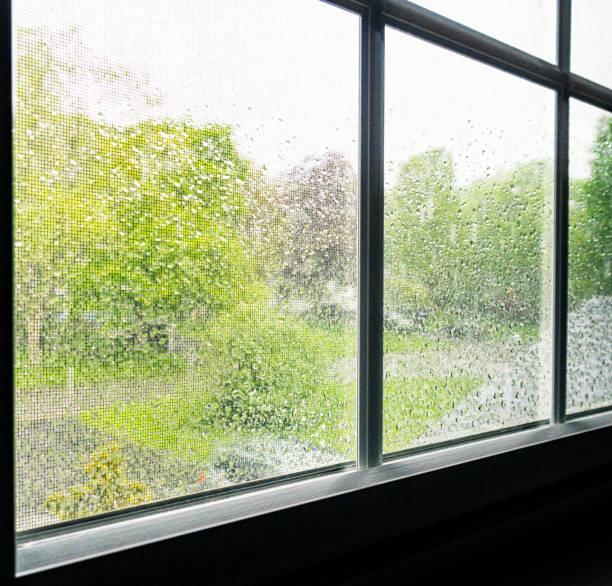 Regenvorfall Blurring Schlafzimmer-Fensterbildschirm – Foto