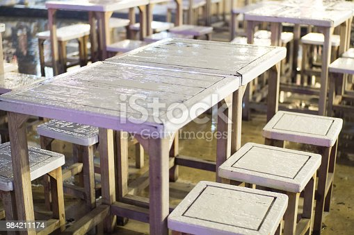 The table is located outside the building. Wet when it rains droplets on the surface. This picture was taken at night.