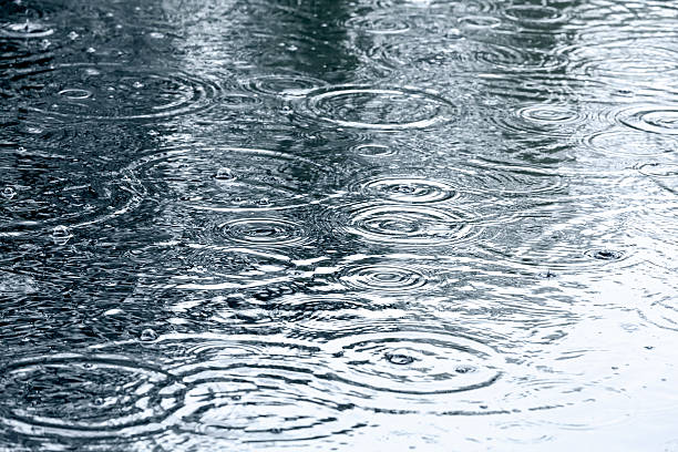 rain drops background sidewalk with rain drops and ripples in puddles raindrop stock pictures, royalty-free photos & images